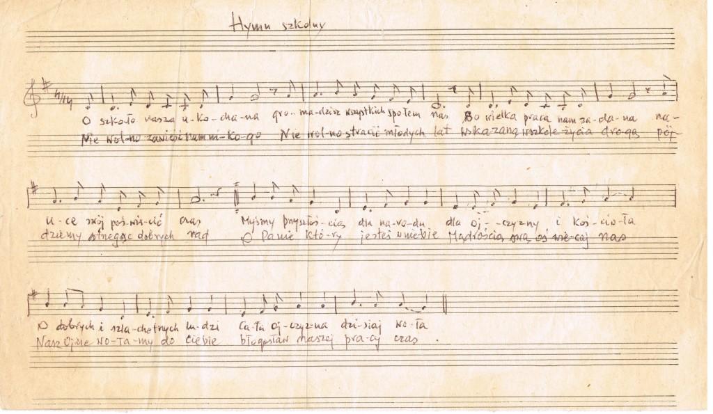 Oryginalny zapis Hymnu szkoły